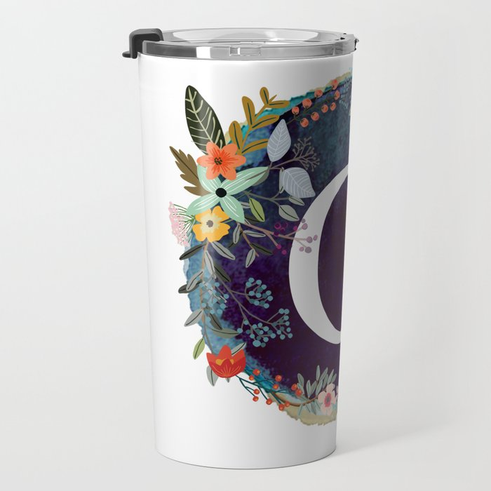 Personalized Monogram Initial Letter G Floral Wreath Artwork Travel Mug