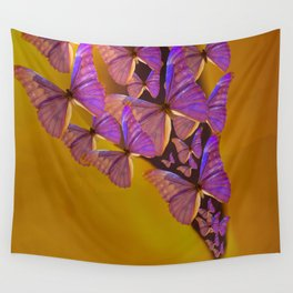 Shiny Purple Butterflies On A Ocher Color Background #decor #society6 Wall Tapestry