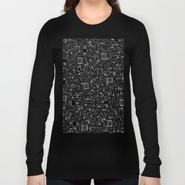 All Tech Line INVERTED / Highly detailed computer circuit board pattern Long Sleeve T-shirt