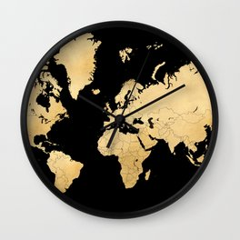 Sleek black and gold world map Wall Clock