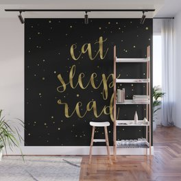 Eat, Sleep, Read (Stars) - Gold Wall Mural