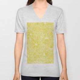 Modern trendy white floral lace hand drawn pattern on meadowlark yellow Unisex V-Neck