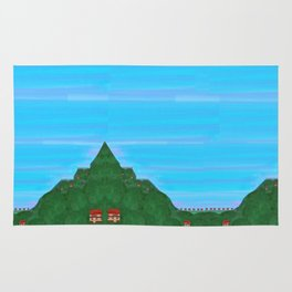 Houses on Green Mountainsides Rug