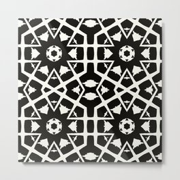 MANTRA - black and white minimal painting abstract art brooklyn trendy mandala street city art work Metal Print