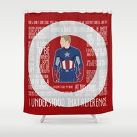 avenger Shower Curtains featuring The First Avenger by MacGuffin Designs