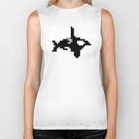 8 bit Biker Tanks featuring 8-bit Orca by Ria Pi