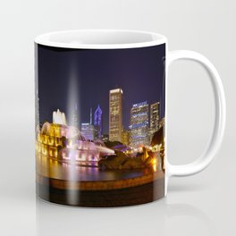 Chicago skyline and Buckingham Fountain at night. Coffee Mug