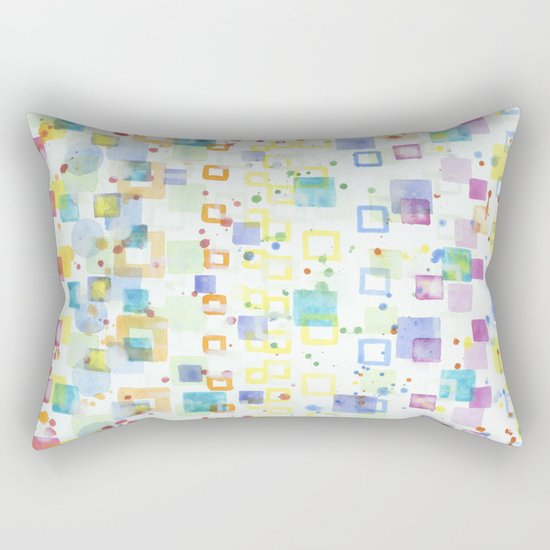 Light Squares with Drops Pattern Rectangular Pillow