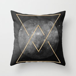 Gold Moon Geometric Tribal Design Throw Pillow