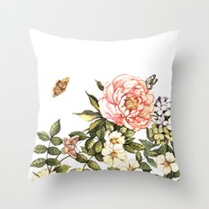 Vintage floral watercolor background Throw Pillow