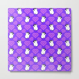 Cute happy cheerful dancing baby penguins cartoon and pretty pink hearts purple whimsical seamless pattern. Gifts for penguin lovers. Nursery decor ideas. Metal Print