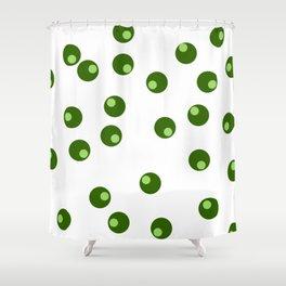 green dots Shower Curtain