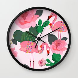 Flamingos. Exotic Birds with cactus and roses artistic design pattern Wall Clock