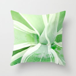 Green leaf photography Morning dew I Throw Pillow