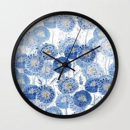 blue indigo dandelion pattern watercolor Wall Clock