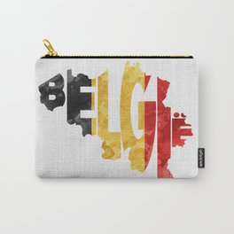 Belgium (België) Typographic World Map / Belgium Typograpy Flag Map Art Carry-All Pouch