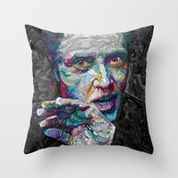 christopher walken Throw Pillows featuring christopher walken portrait  by Godhead