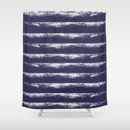 Irregular Stripes Dark Blue Shower Curtain