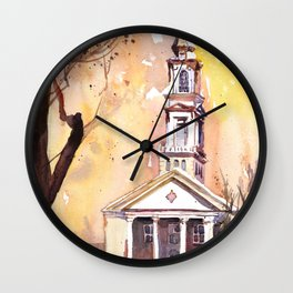 Watercolor painting of the Hayes-Barton church in Raleigh, North Carolina Wall Clock
