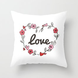 Adorable & Cute Love Flowery Flowers Love Heart Throw Pillow