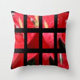 Mottled Red Poinsettia 2 Art Rectangles 2 Throw Pillow