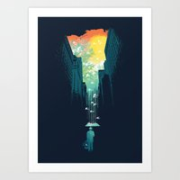 cloud Art Prints featuring I Want My Blue Sky by Picomodi