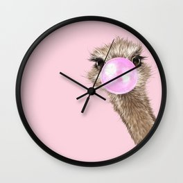 Sneaky Ostrich with Bubble Gum in Pink Wall Clock