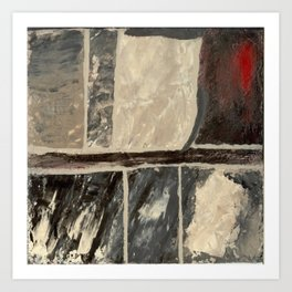 Textured Marble Popular Painterly Abstract Pattern - Black White Gray Red Art Print