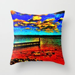 Colorful Sunset on Beachfront Throw Pillow