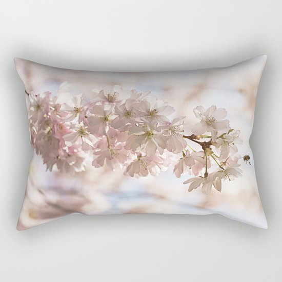 Bee and cherry branches against the blue sky Rectangular Pillow