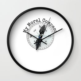 Morel Compass Mushroom Humor for Mycologists Wall Clock