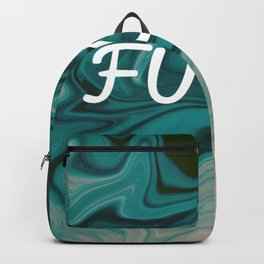 FUCK Teal Abstract Paint Backpack