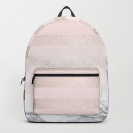 Rose Gold Pink Stripes and Marble Design Backpack
