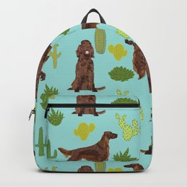 Irish Setter cactus southwest desert dog breed cute gift for dog lover pupper portrait pattern gifts Backpack