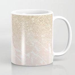 Modern champagne glitter ombre blush pink marble pattern Coffee Mug