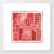 Square Houses in Red Canvas Print