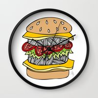 burger Wall Clocks featuring Burger by Amber Lily Fryer