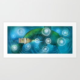 Sea of Moon Jellies Art Print