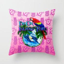 Pink Tiki Island Time Surfing Throw Pillow