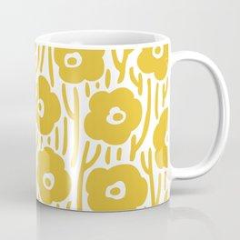 Mid Century Modern Wild Flowers Pattern Mustard Yellow Coffee Mug