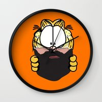garfield Wall Clocks featuring Garfield Cat Beard by Stuff Your Eyes