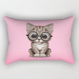 Cute Brown Tabby Kitten Wearing Eye Glasses on Pink Rectangular Pillow