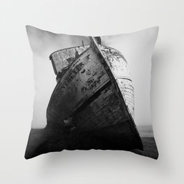 Point Reyes Shipwreck, Dramatic Black and White Art Print Throw Pillow