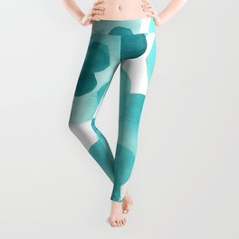 Aqua Bubbles: Abstract turquoise watercolor painting Leggings