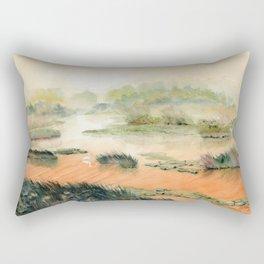 Egret On The Marsh Rectangular Pillow