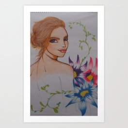 gril&flower Art Print