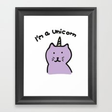 Cat unicorn Framed Art Print