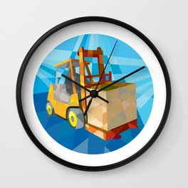 Forklift Truck Materials Box Circle Low Polygon Wall Clock