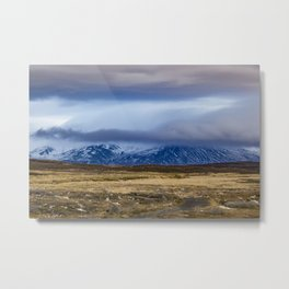 Snowy Mountains across from Tundra in the Icelandic Wilderness Metal Print