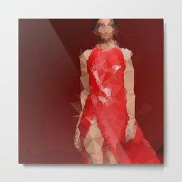 Low poly red dress Metal Print
